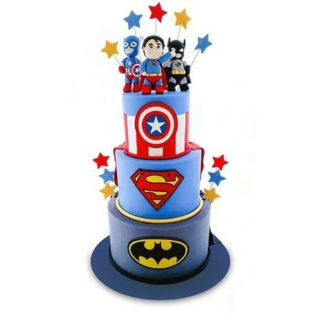 DC Meets Marvel Tiered Cake