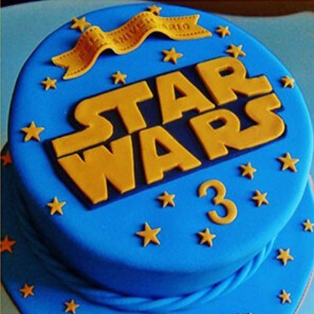 Superb Customized Classic Blue And Orange Star Wars Birthday Cake Birthday Cards Printable Riciscafe Filternl