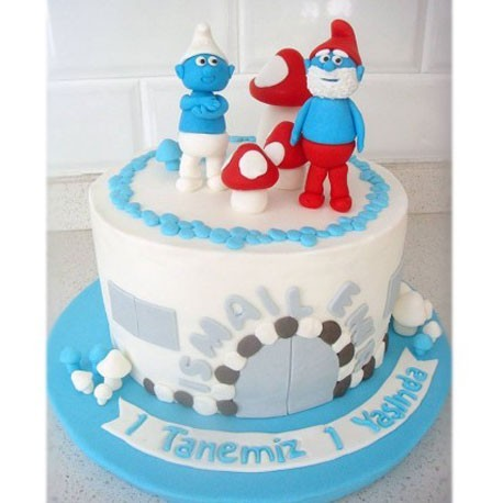 Brilliant Customized Fun With Smurf Cake Funny Birthday Cards Online Overcheapnameinfo