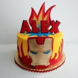 Iron man on fire cake