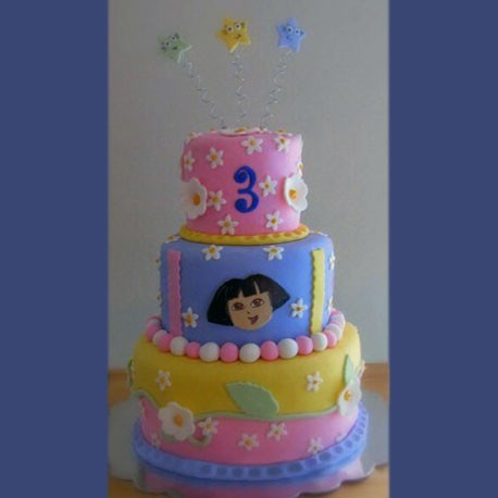 dora-the-explorer-tiered-pastel-birthday-cake
