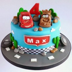 Race Cars Cartoon Cake