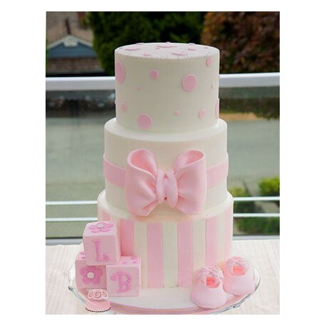 Centered Pink Bow Tiered Cake