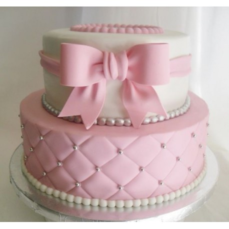 Pink Bow Baby Cake