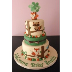 Fox Baby Shower Cake