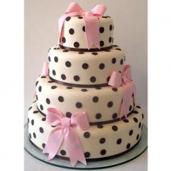 Polka Dot Ribbon Step Cake
